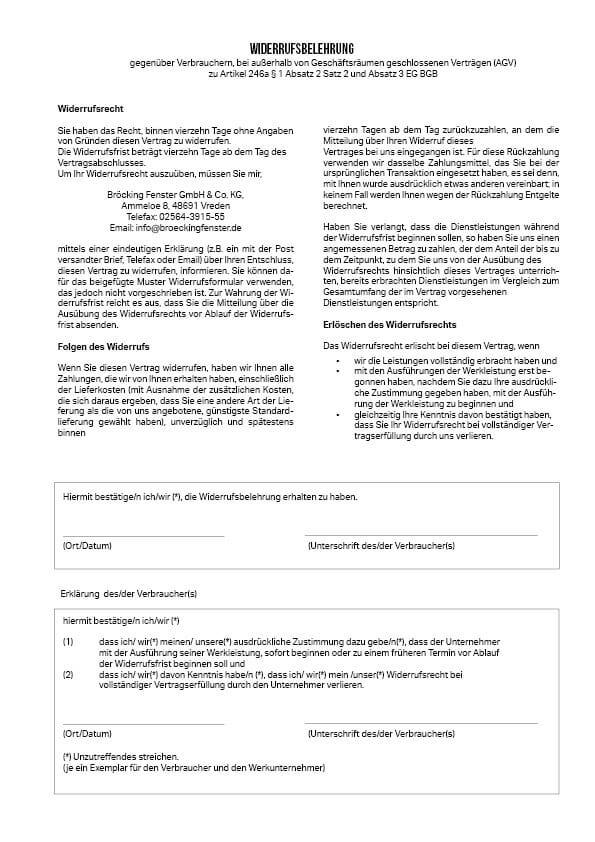 Widerrufsbelehrung Bröcking Fenster GmbH